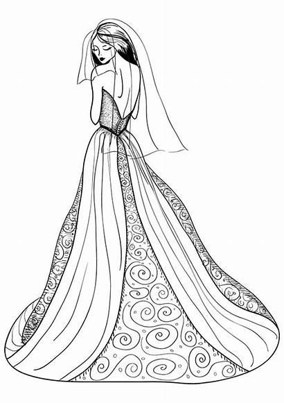 Coloring Pages Dresses Printable Wearing Drawings Getdrawings