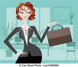 Clip Art Vector of Female executive with office backgr ...