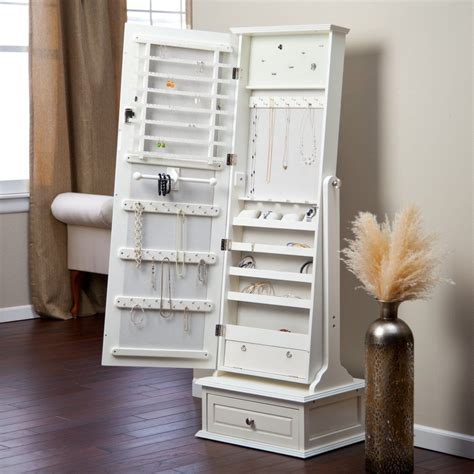 transitional cheval mirror locking jewelry armoire