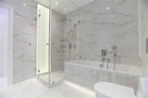 White Carrera marble for the kitchen and bathroom