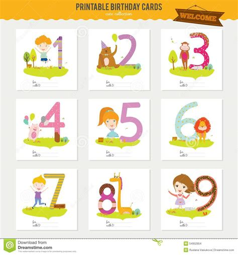 time card template for numbers birthday anniversary numbers with cute animals and stock