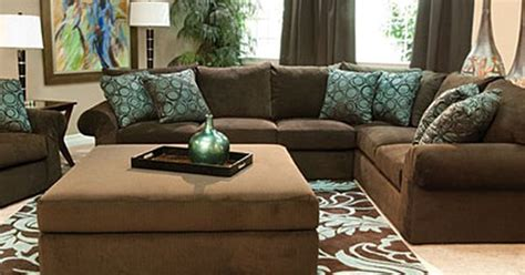 brown and aqua living room decor mor furniture wonka chocolate sectional living room for