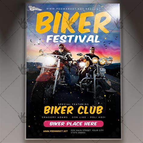 biker festival flyer psd template psdmarket