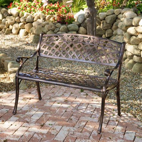 Outdoor Patio Furniture Cast Aluminum Garden Bench Ebay