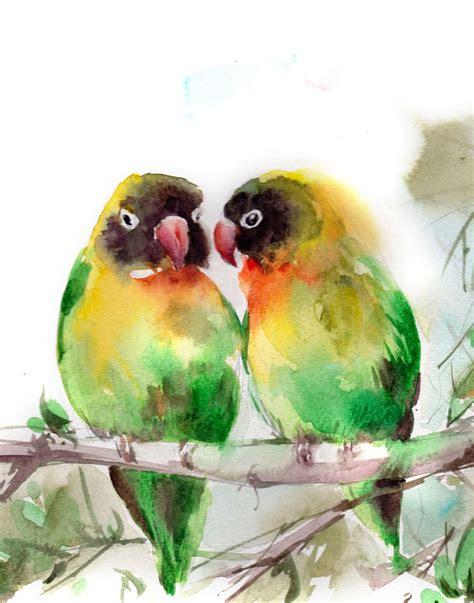 lovebirds art print green love birds couple bird