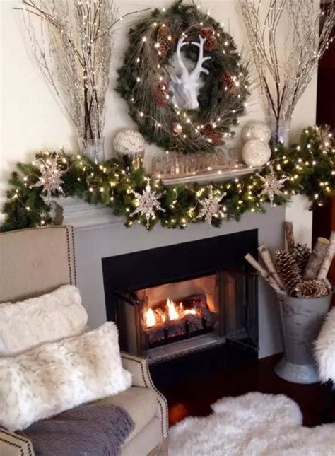 traditional christmas garlands  lights chic fireplace