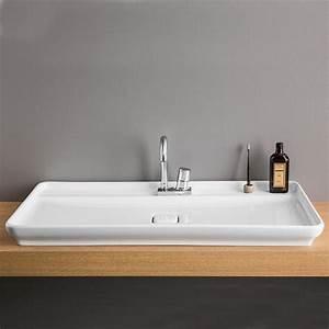 Vasque à Poser Design : vasque poser 98x54 cm naked en c ramique blanche artceram ~ Edinachiropracticcenter.com Idées de Décoration