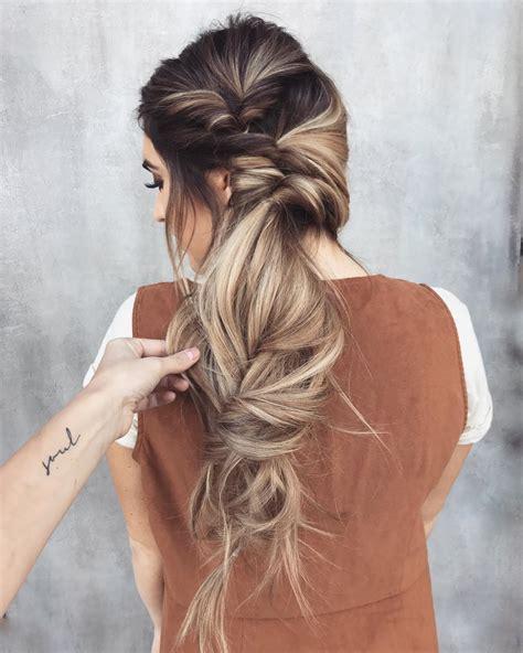 messy braided long hairstyle ideas  weddings