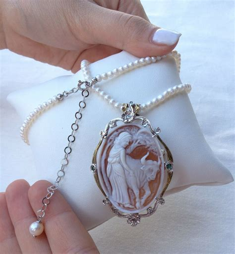 antique cameo necklace brooch gold silver italian
