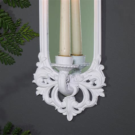 White Candle Sconces - ornate white wall mirror candle sconce melody maison 174