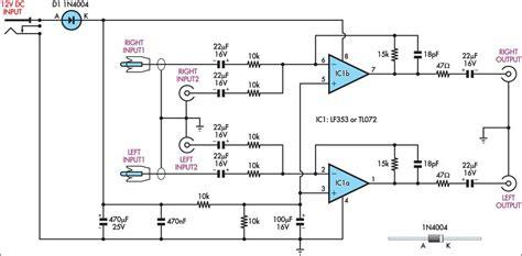 dual input combining stereo  amplifier circuit diagram