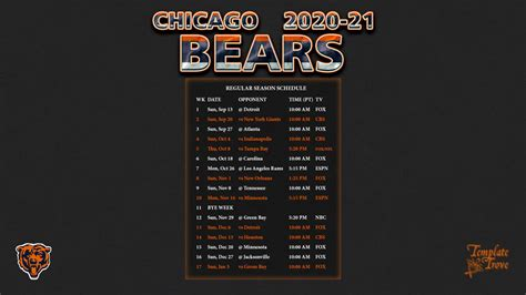 chicago bears wallpaper schedule