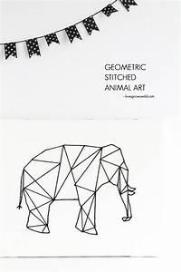 Geometric Stitched Animal Art - Love Grows Wild