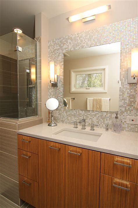 Mosaic Glass Tile Back Splash  Vanity   Contemporary