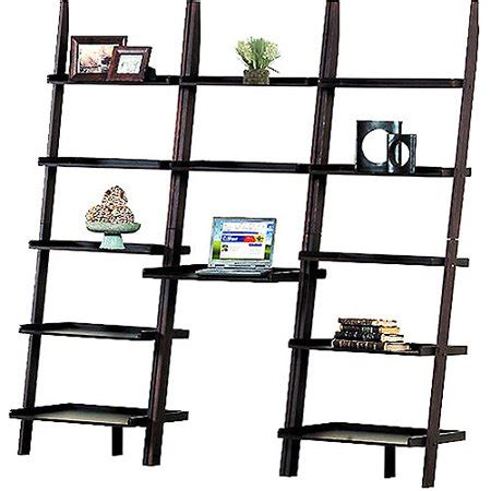 Leaning Bookcase Walmart by Leaning Wall Desk And Bookcase Value Bundle Espresso