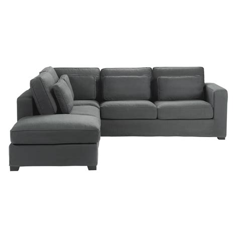 housse pour canapé angle 5 seater cotton corner sofa in slate grey maisons