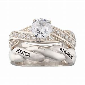 sterling silver engraved round cz 2 piece wedding ring set With 2 piece wedding rings