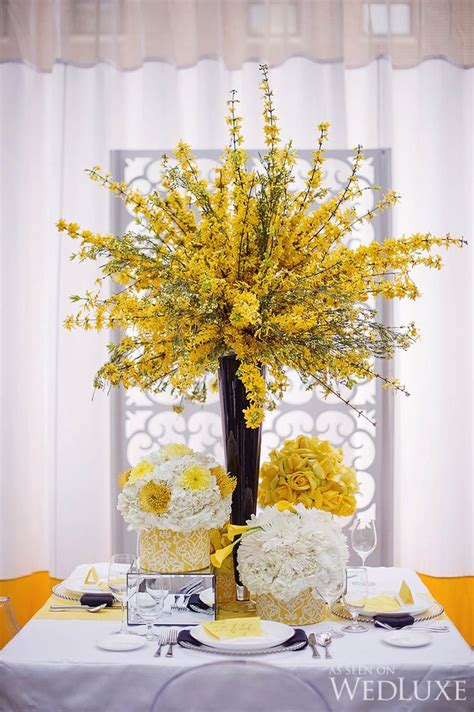 ideas  yellow centerpieces  pinterest