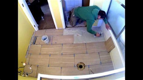 Porcelain Tile Staggered Bathroom Floor Installation Time