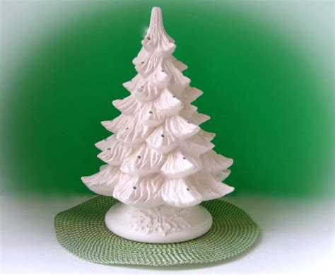ceramic christmas tree unpainted bisque with holly by