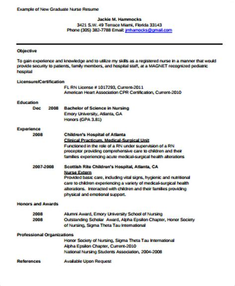 sample graduate nurse resume templates  ms word