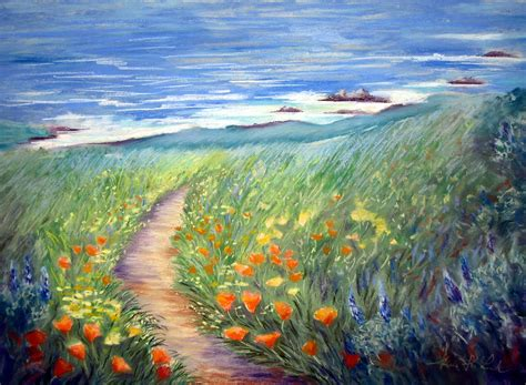 wild garden by the sea painting by karin leonard