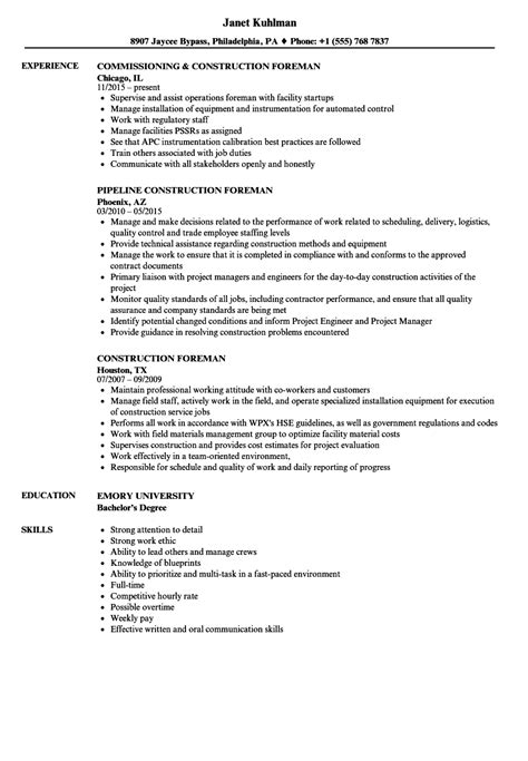 Construction Resume by Construction Foreman Resume Sles Velvet