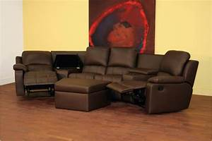 home theater seating sectional sofa recliner brown With home theater seating microfiber couch sectional sofa