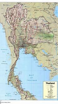Large detailed political map of Thailand with relief ...