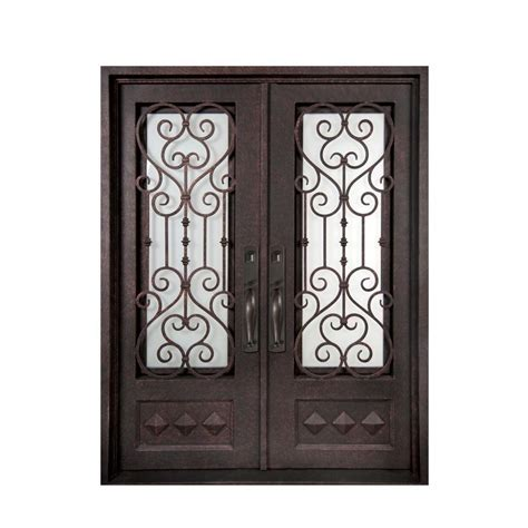 iron doors unlimited 74 in x 97 5 in vita francese 3 4 lite painted rubbed bronze
