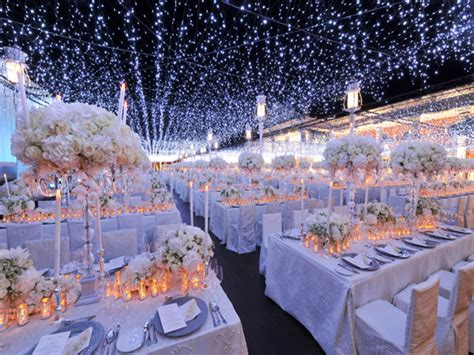 silver christmas table decorations night time wedding