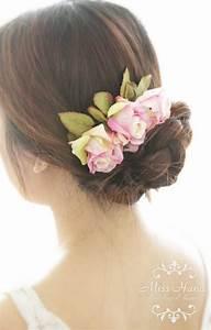 Bridal Hair Accessory Pink Purple Rose Autumn Fall