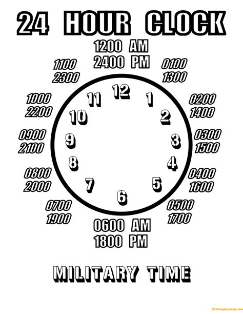 24 hour clock coloring page free coloring pages