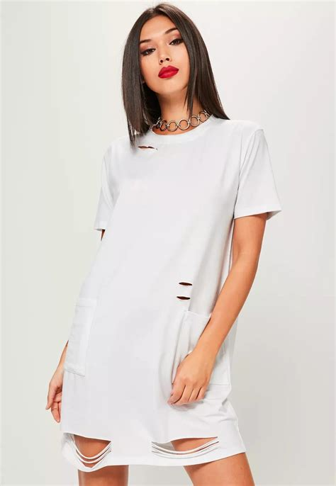 100 Cotton Fabric For T-shirt Clothing Women Plain White Round Neck Long T-shirt Dress With ...