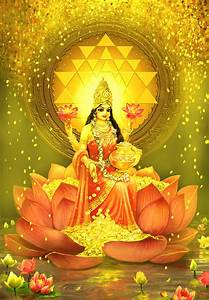 Golden Lakshmi Mixed Media by Lila Shravani