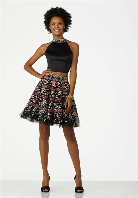 Two Piece Cocktail Dress With Floral Embroidered Satin