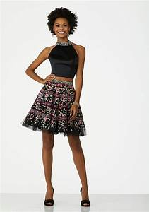 Two Piece Cocktail Dress with Floral Embroidered Satin Bodice and Tulle Skirt | Style 33001 ...