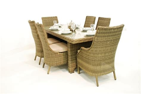 rattan garden furniture 6 seater high back dining