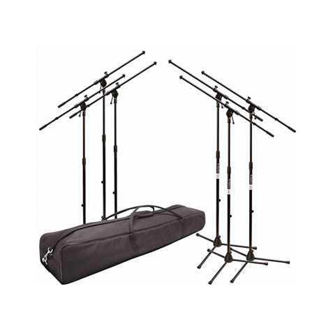 onstage ms7701b 6 pack tripod boom mic stands with carrying reverb