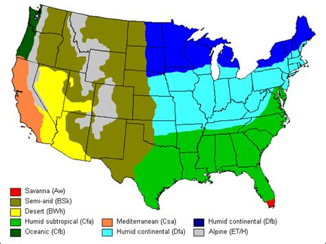 United States Climate Regions Map