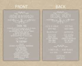 wedding program templates wedding program wedding reception wedding thank you