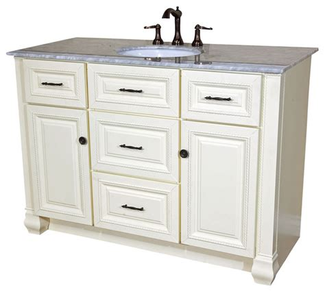 50 inch single sink vanity heirloom white traditional