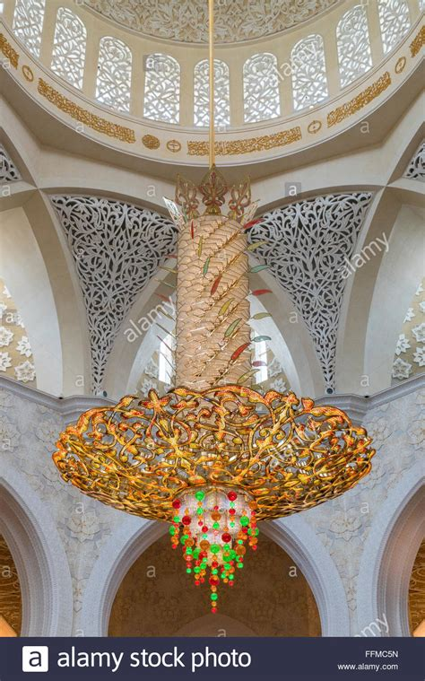 Mosque Chandelier by Interior Of Sheikh Zayed Grand Mosque Showing Large Ornate