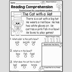 Reading Comprehension Passages {march Kindergarten & 1st}  Anything And Everything First Grade