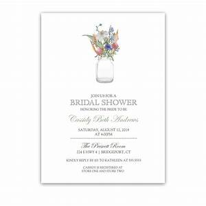 mason jar with wildflowers floral bridal shower invite With mason jar wedding shower invitations