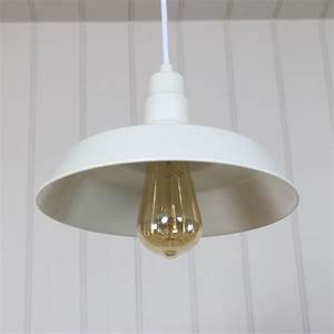 white vintage industrial barn style pendant light fitting With barn type lighting