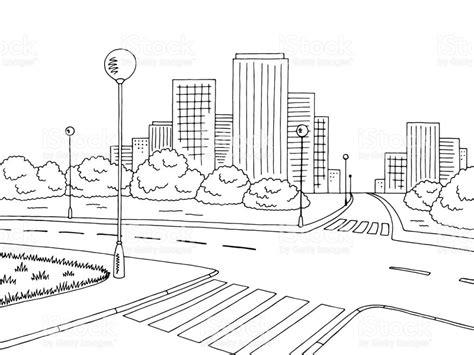 street road graphic black white city landscape sketch