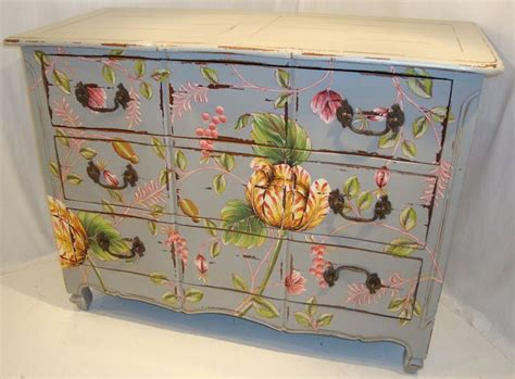 painted shabby chic furniture bold floral painted chest for the home pinterest