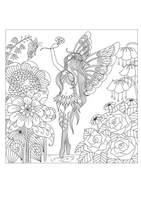 Flowers queen Flowers Adult Coloring Pages