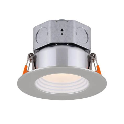 led recessed lighting kit canarm 3 in brushed nickel integrated led recessed kit